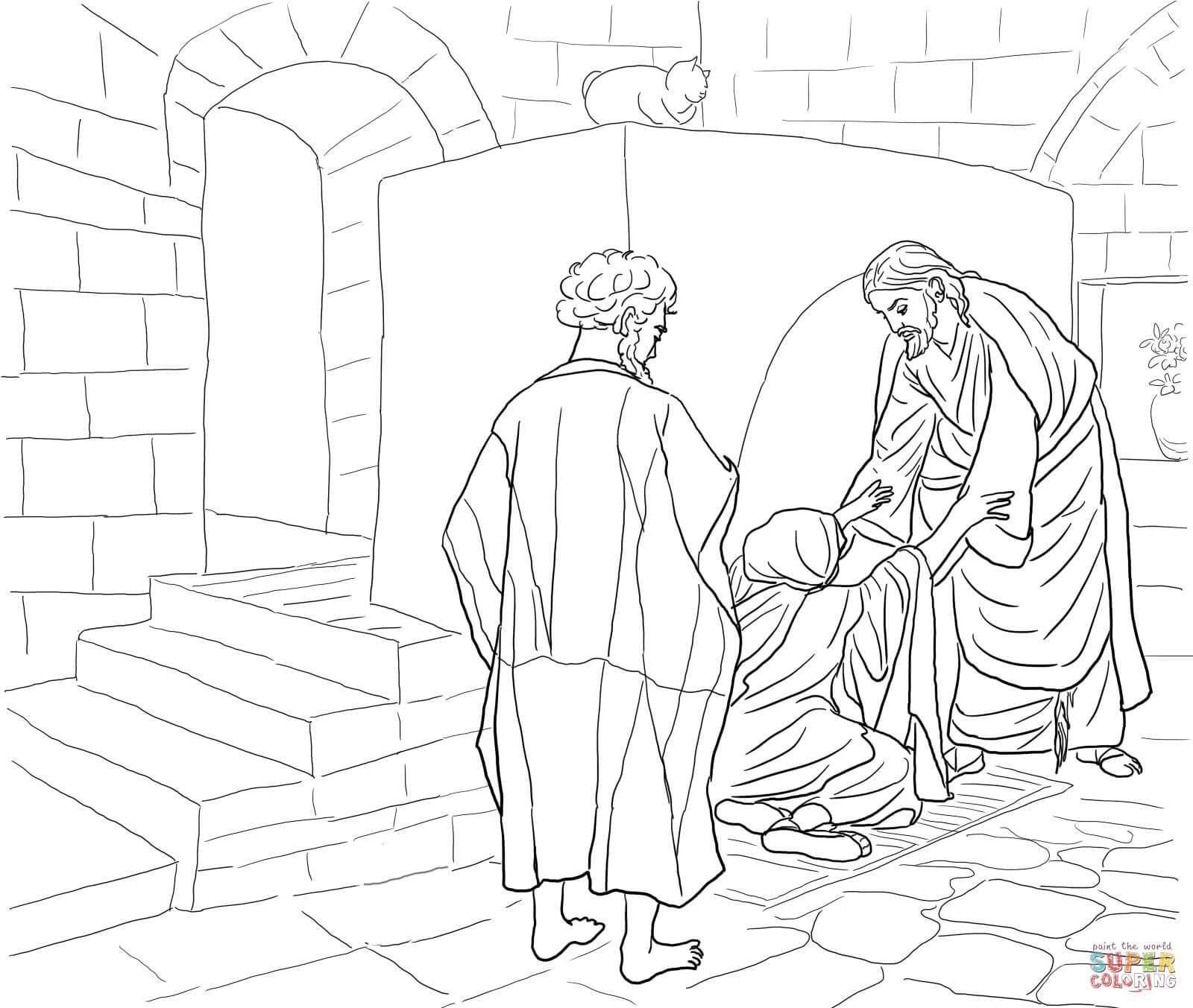 Dibujo de Jesús curando a la Suegra de Pedro para colorear