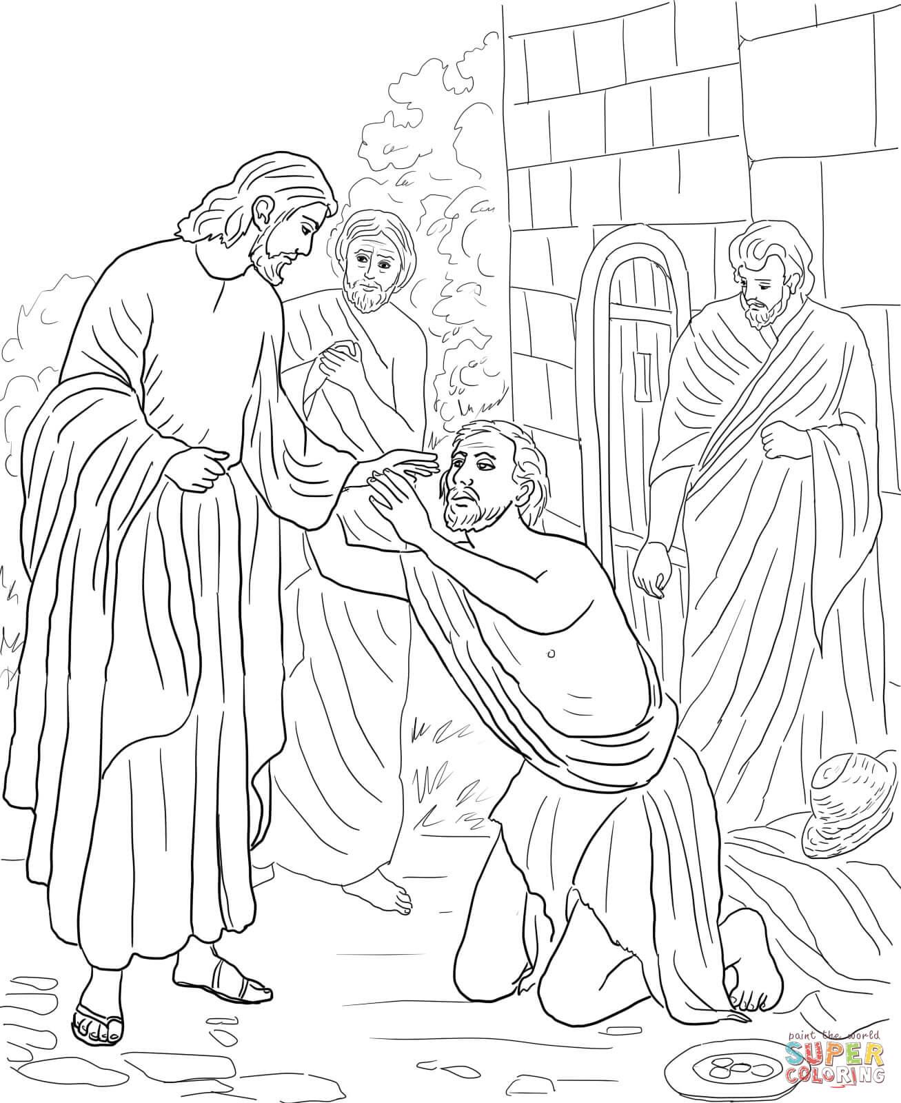 Jesus Heals Blind Bartimaeus Coloring Page