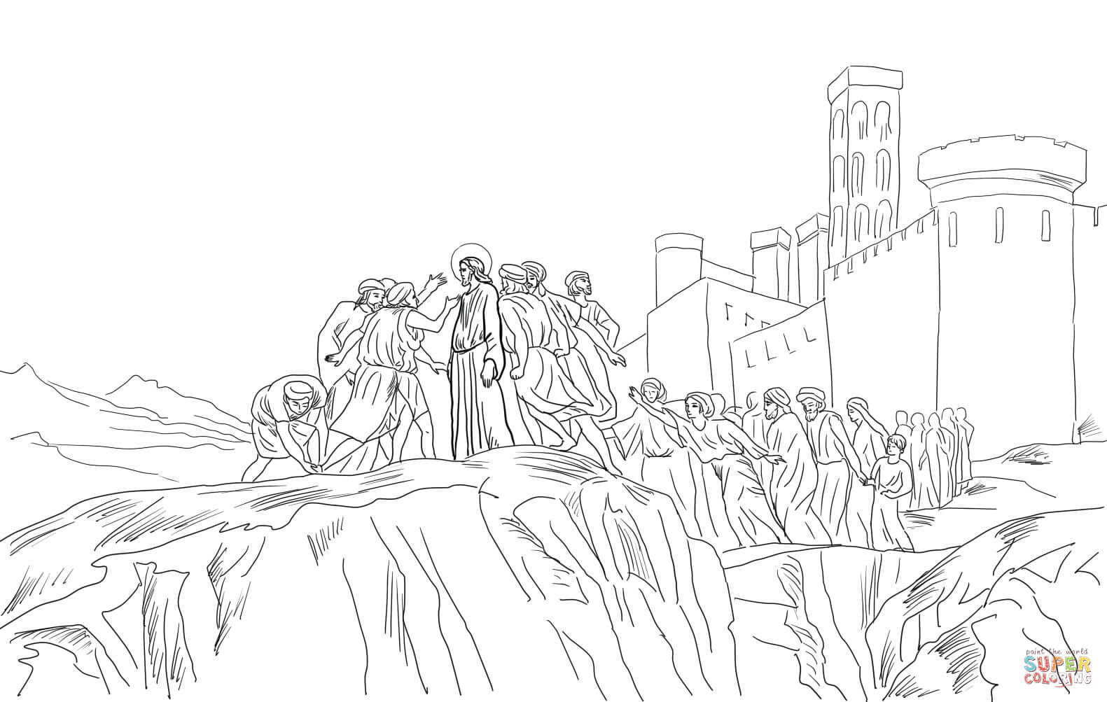 Jesus Rejected In Nazareth Coloring Page