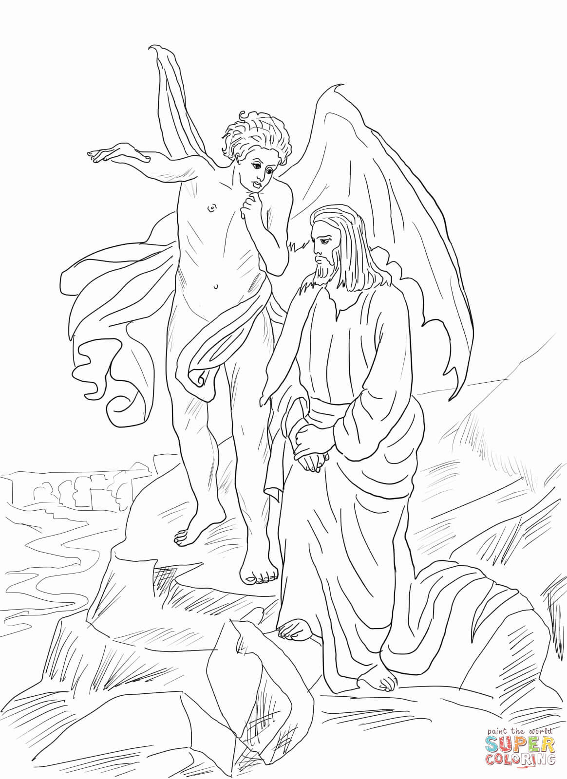 Temptation Of Jesus Page Coloring Pages