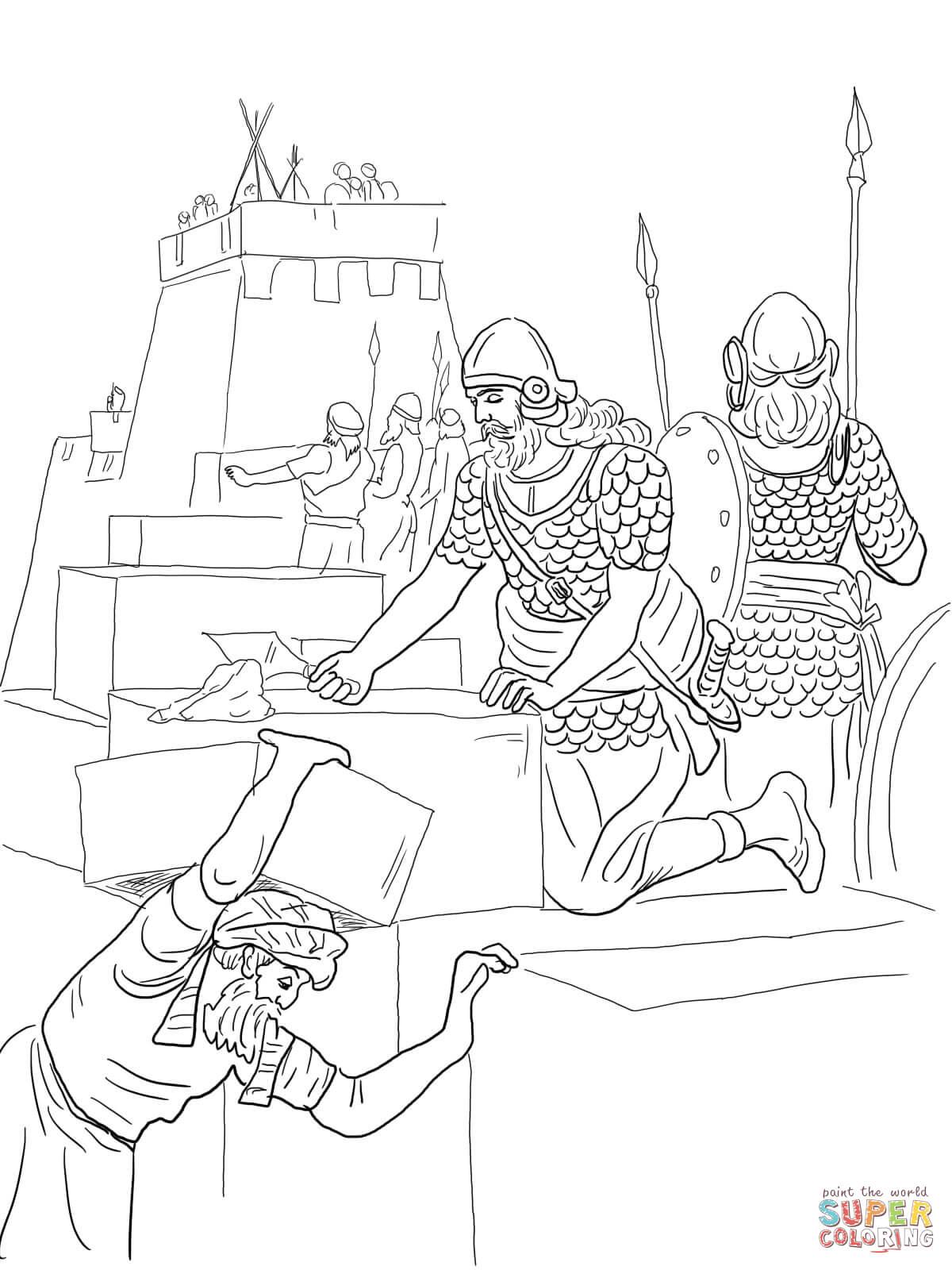 Dibujo de Nehemías construye el muro y la Torre de