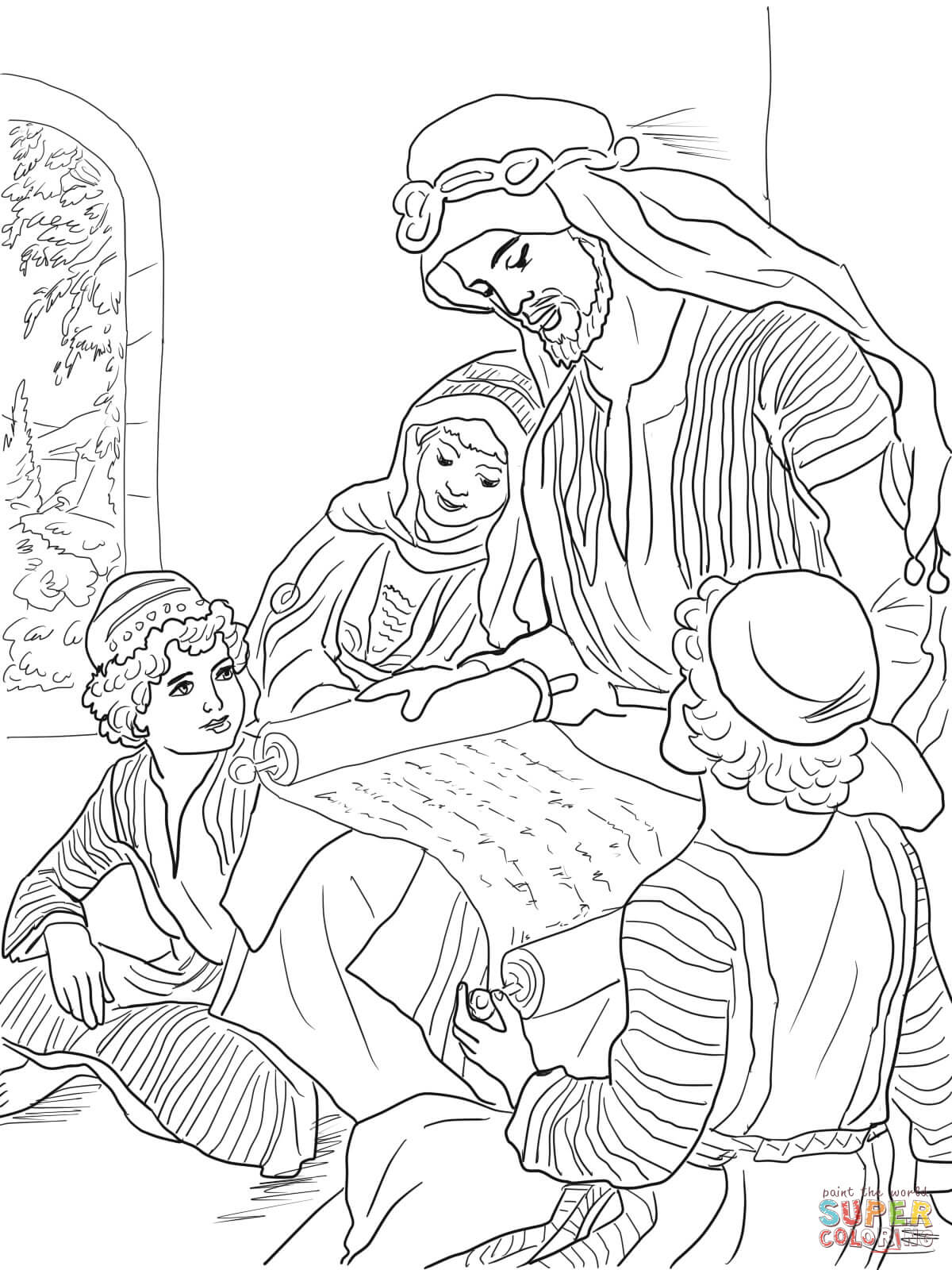Prophet Hosea Reads to His Three Children coloring page