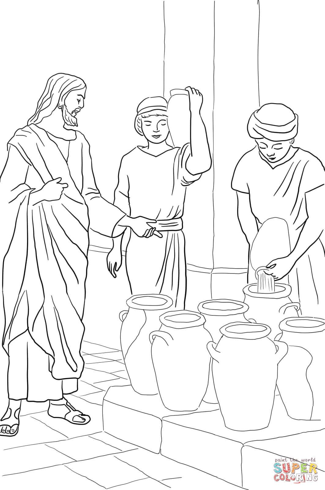 Dibujo de Jesús convierte el agua en vino para colorear