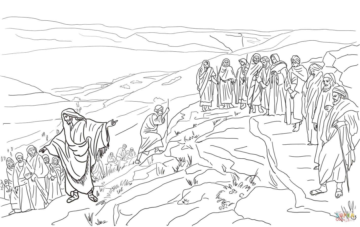 Disegno di Gesù sceglie i dodici discepoli da colorare