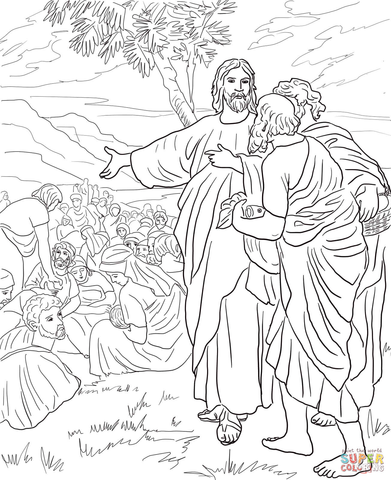 Jesus Feeds the Multitude with Fish and Bread coloring