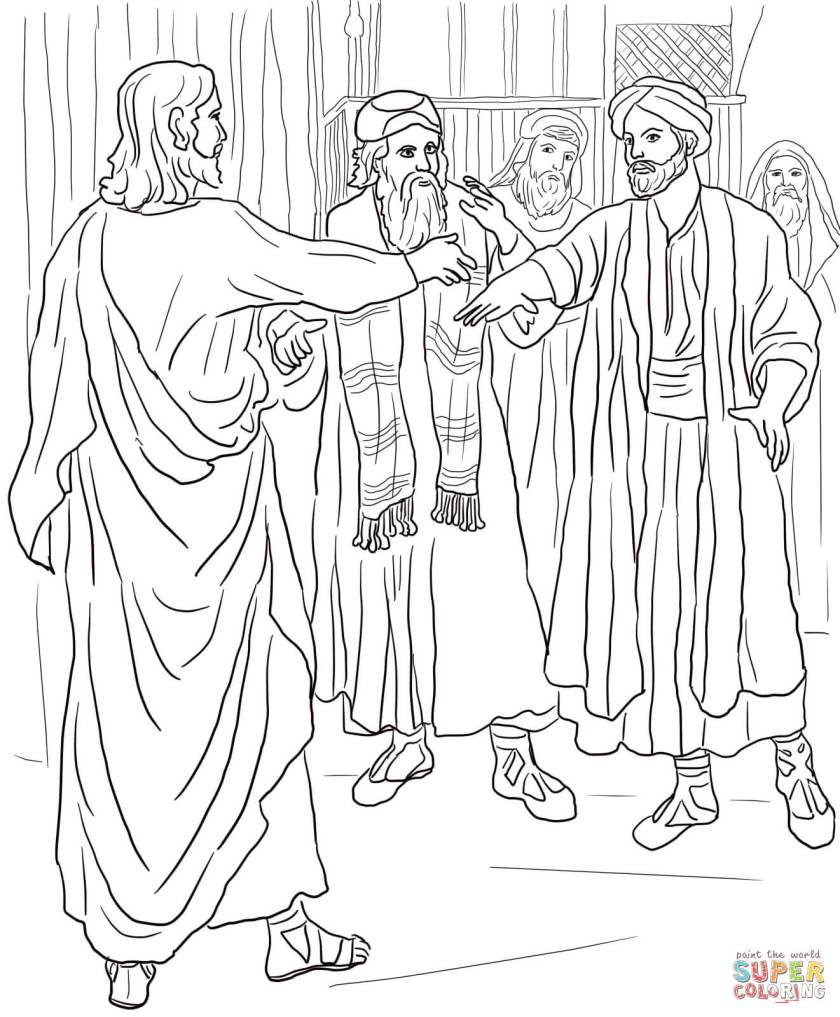 jesus heals a man  a ered hand coloring page