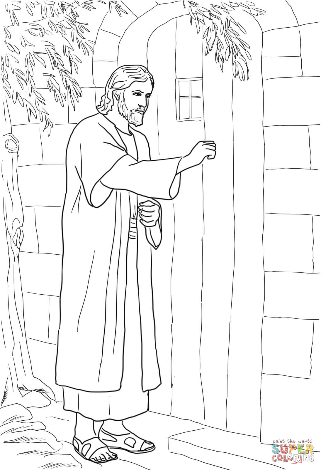 Jesus Knocking At The Door Coloring Page