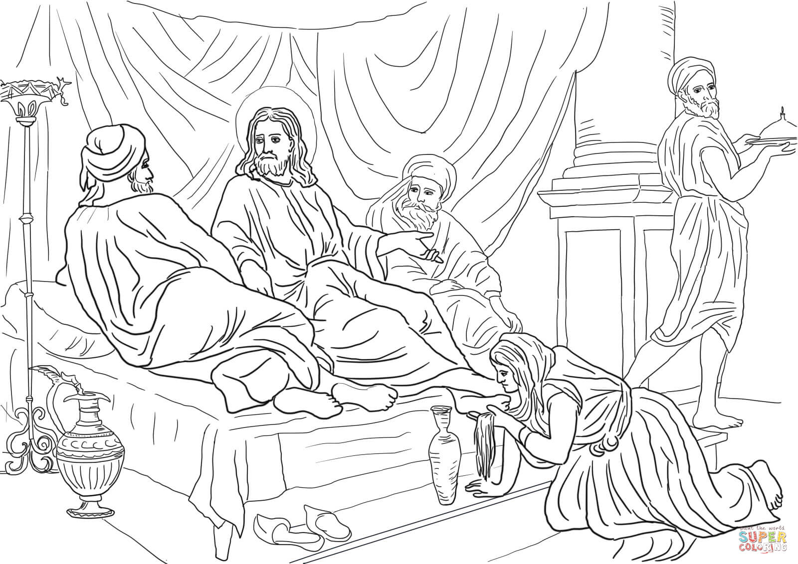 Free Coloring Pages Download Woman Washing Jesus Feet With Her Hair Page Of