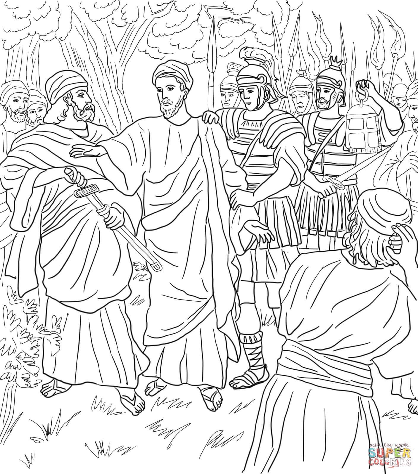 Desenho de Jesus preso no Jardim de Getsêmani para colorir