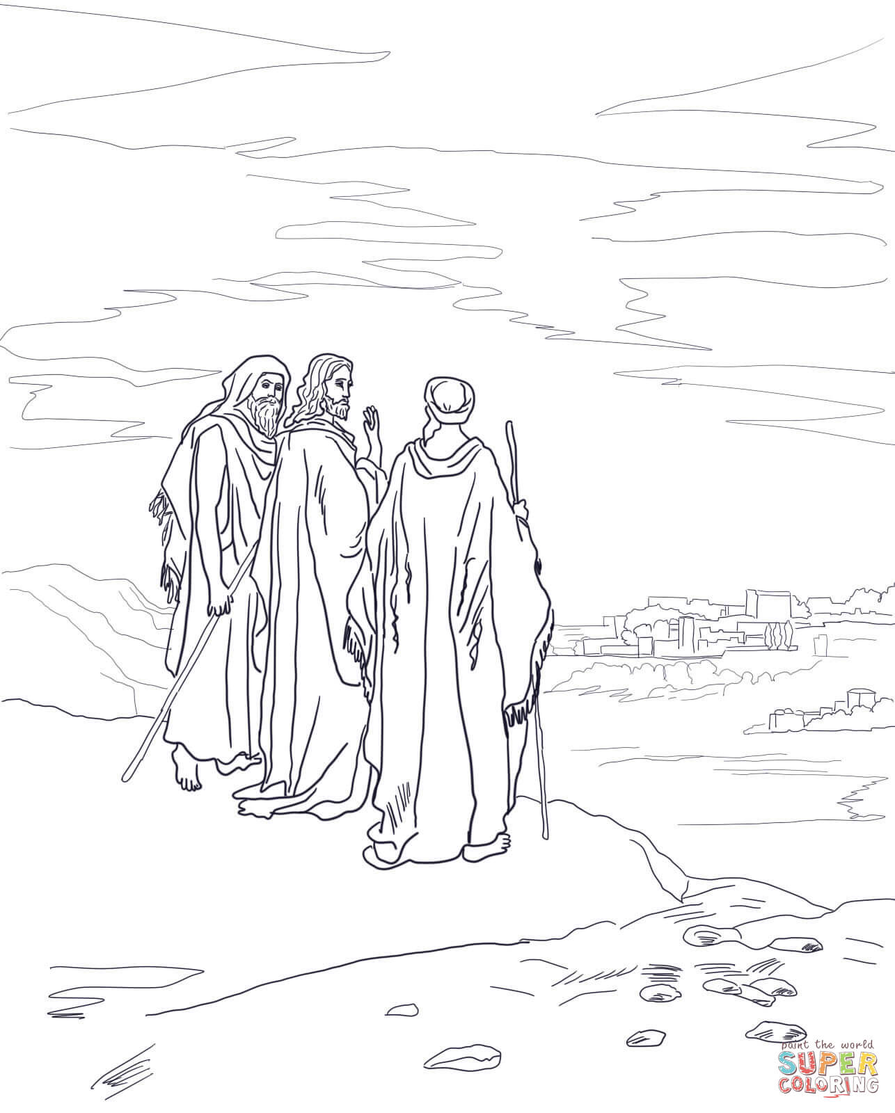 Ausmalbild: Jesus auf der Straße nach Emmaus