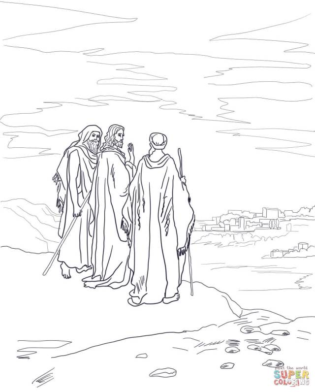 Jesus on the Road to Emmaus coloring page  Free Printable