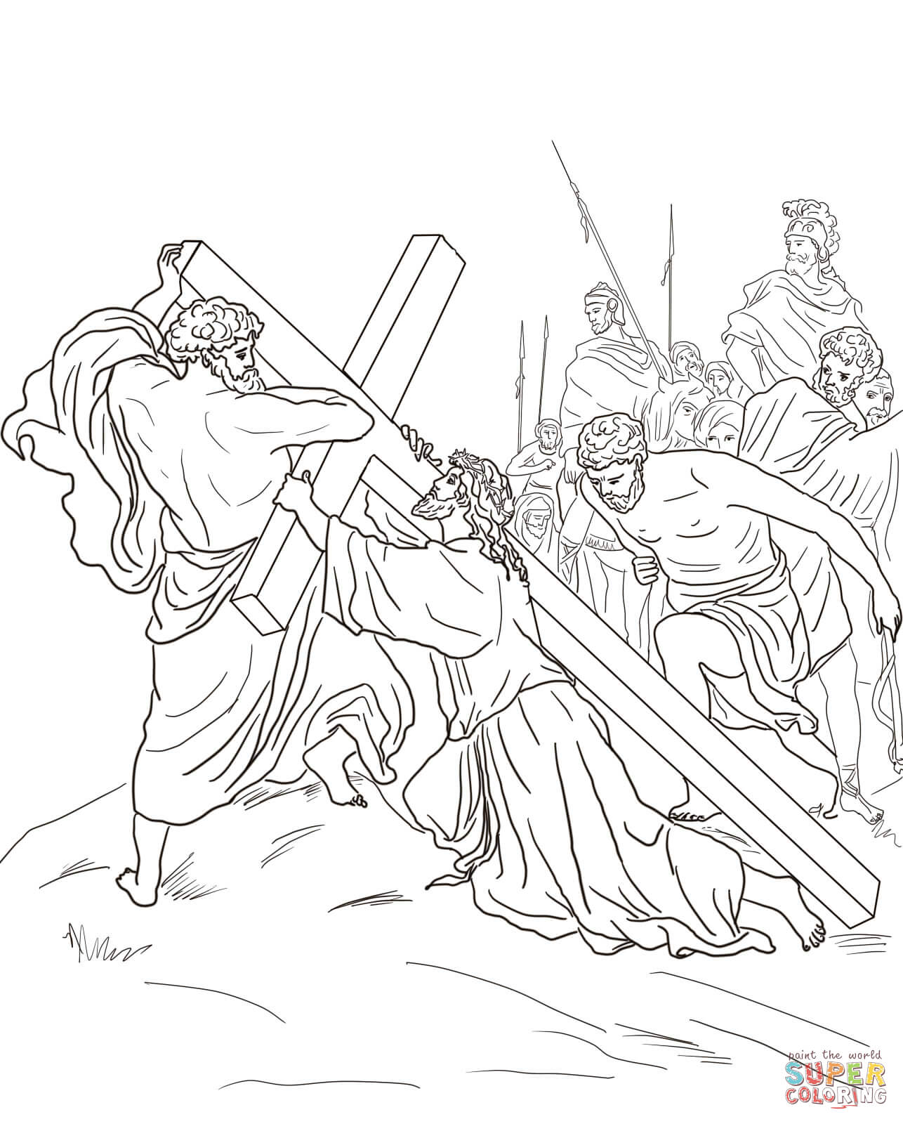 Ausmalbild 5 Station Simon Von Cyrene Hilft Jesus Das Kreuz Tragen