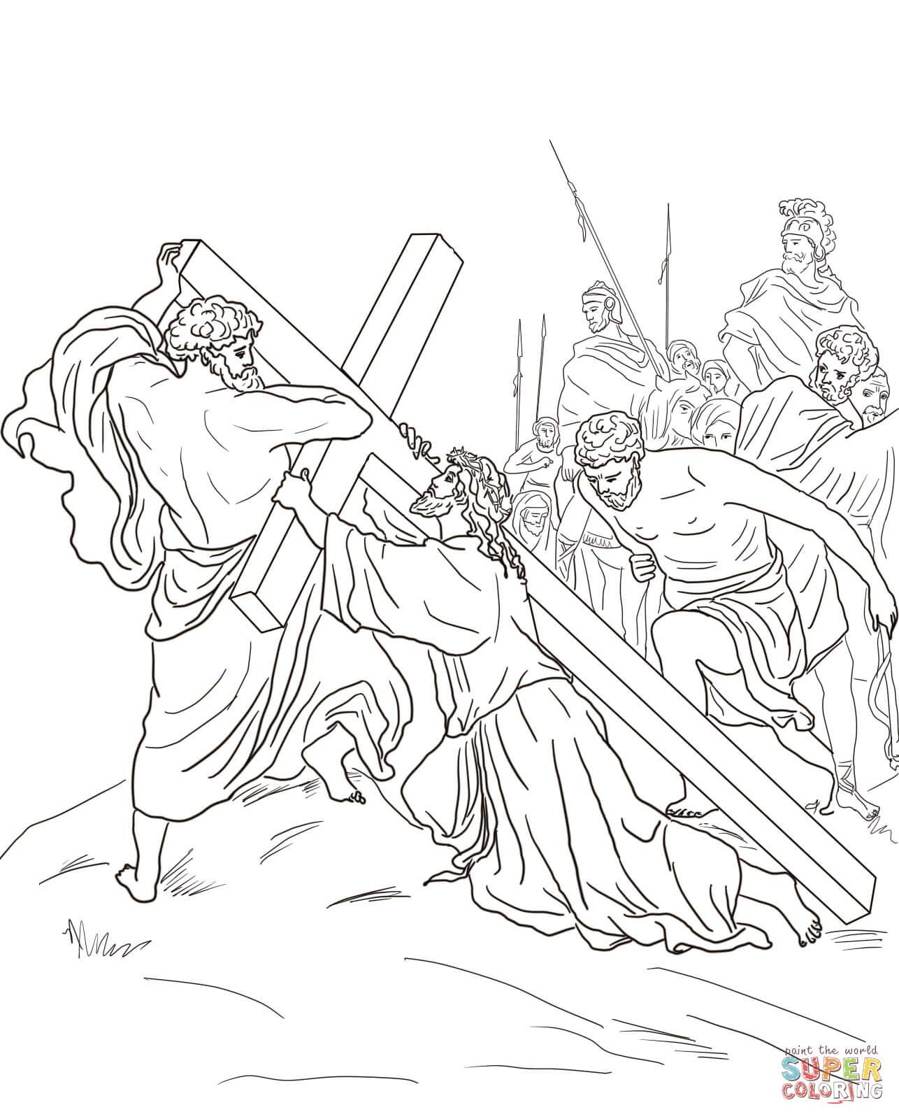 Ausmalbild: 5. Station: Simon von Cyrene hilft Jesus das