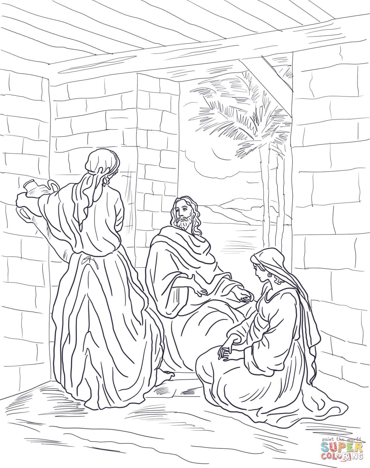 Dibujo de Jesús Visita a María y a Marta para colorear