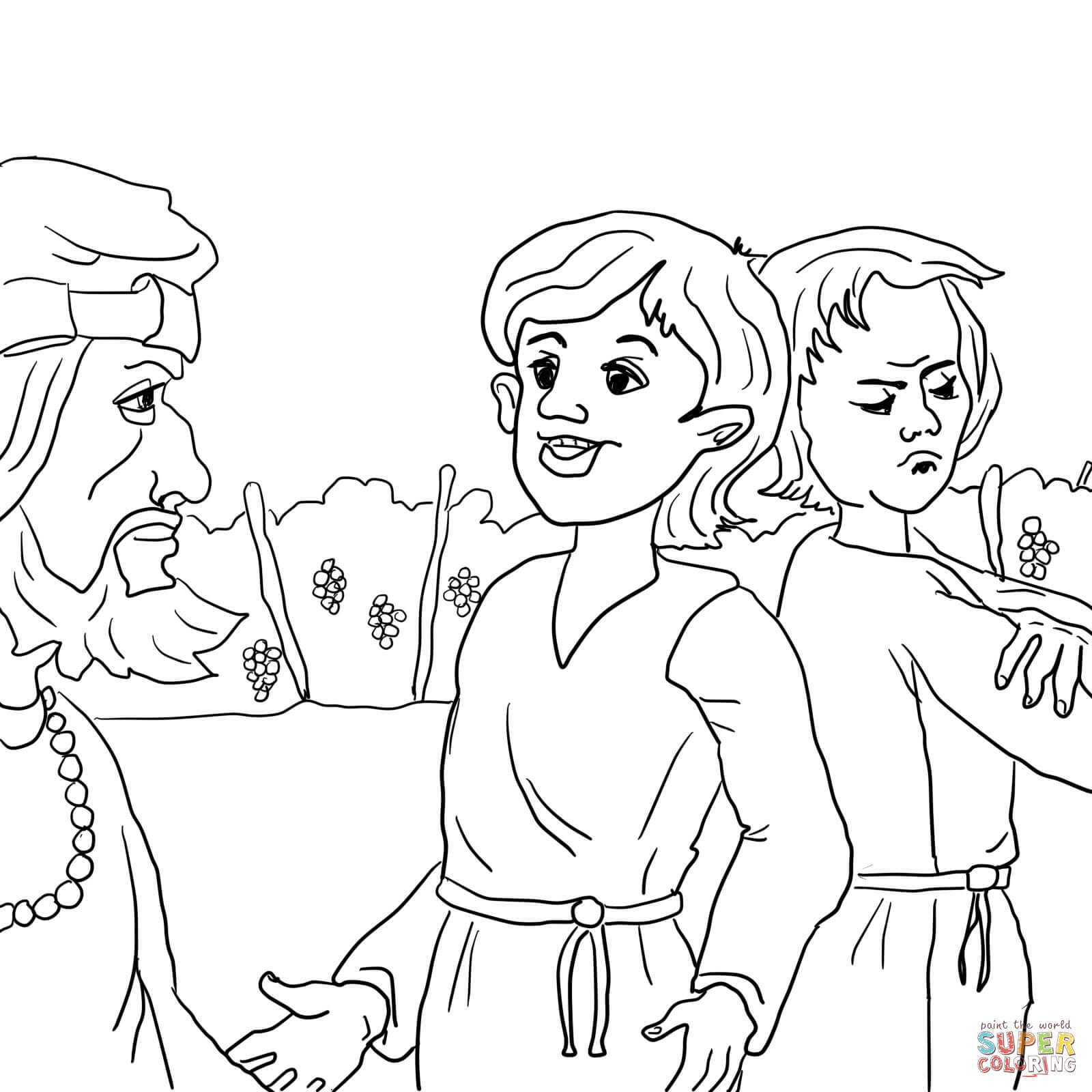 Parable Of The Two Sons Coloring Page