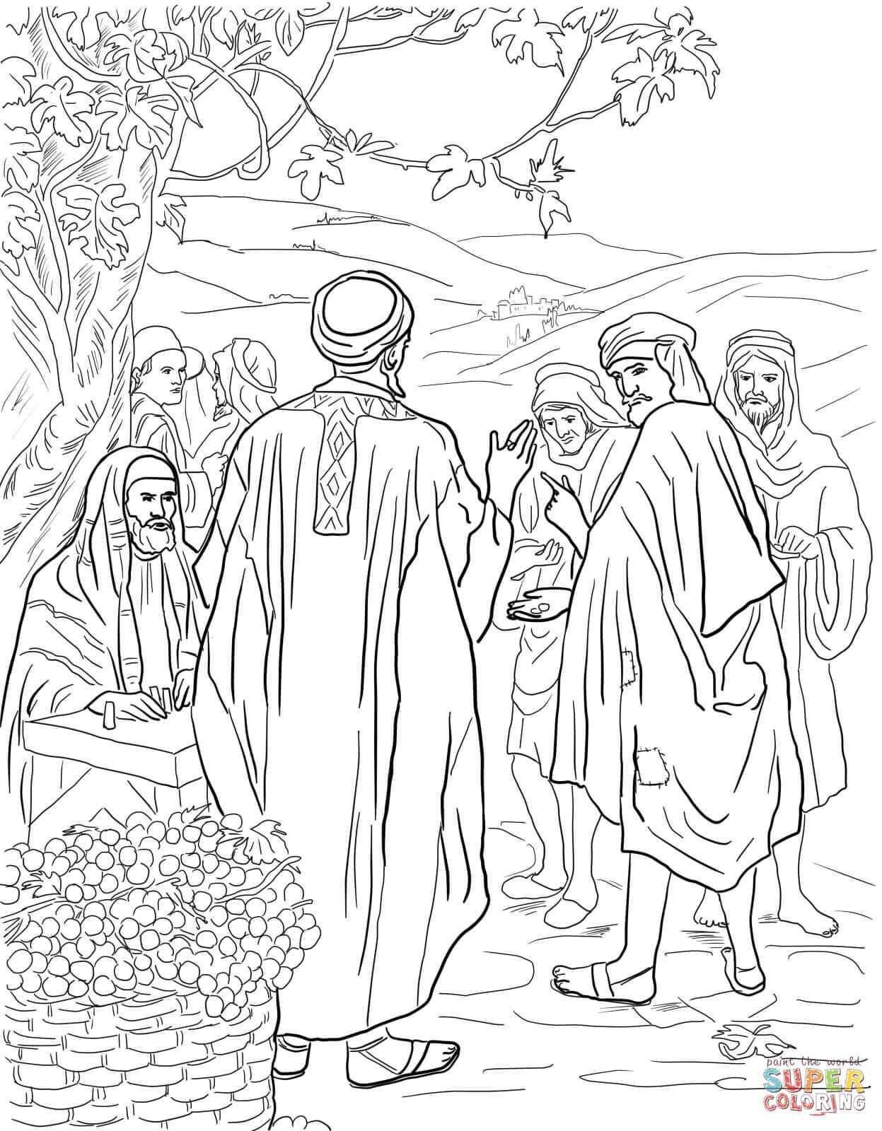 Dibujo de Parábola de los Trabajadores de la Viña para