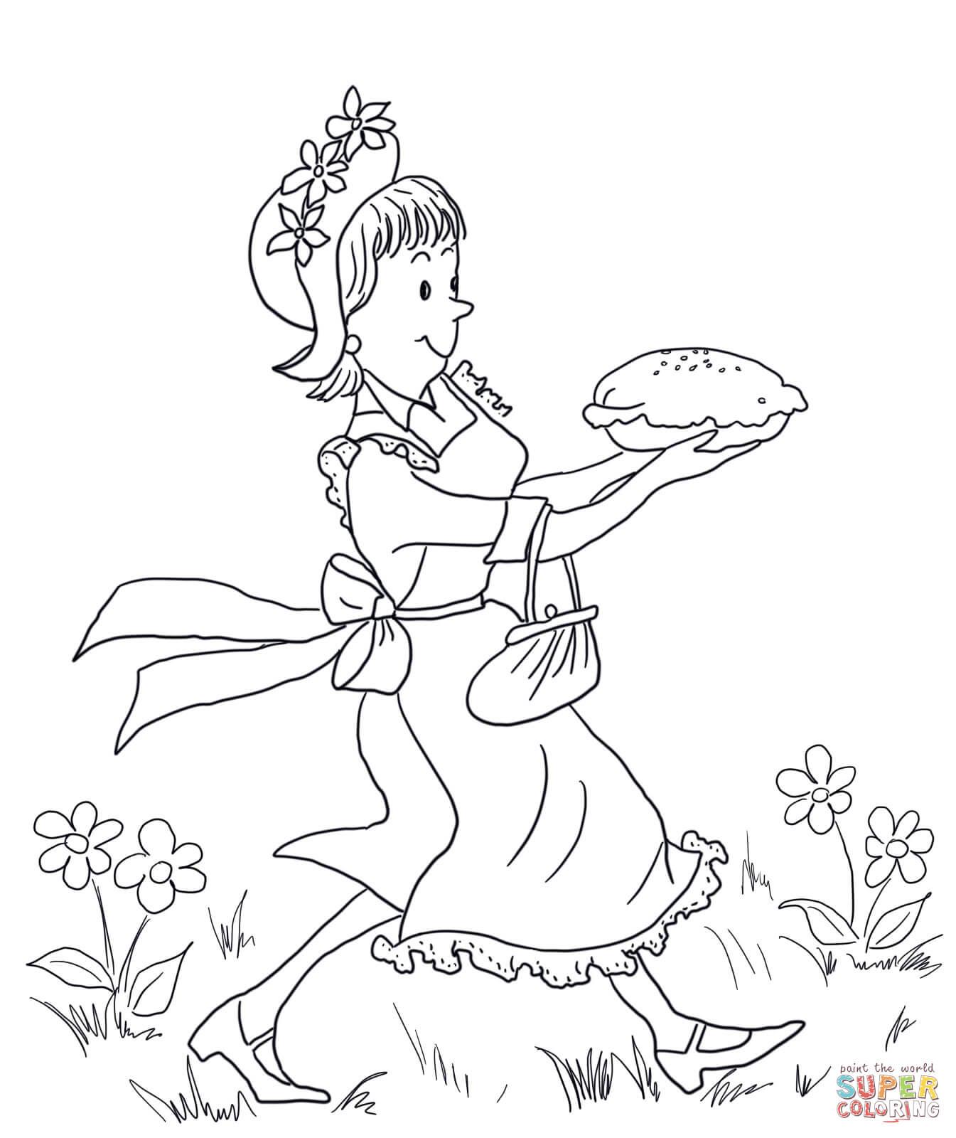 Amelia Bedelia Carrying Lemon Meringue Pie Coloring Page