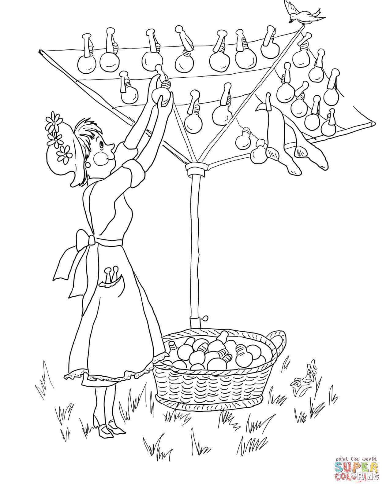 Amelia Bedelia Puts Out The Light Coloring Page
