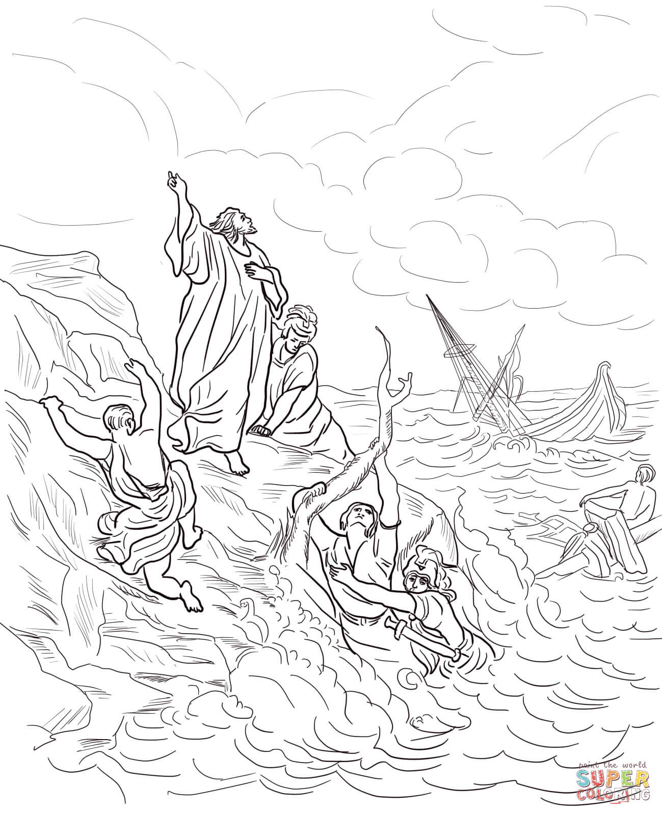 Apostle Paul Shipwrecked Coloring Page
