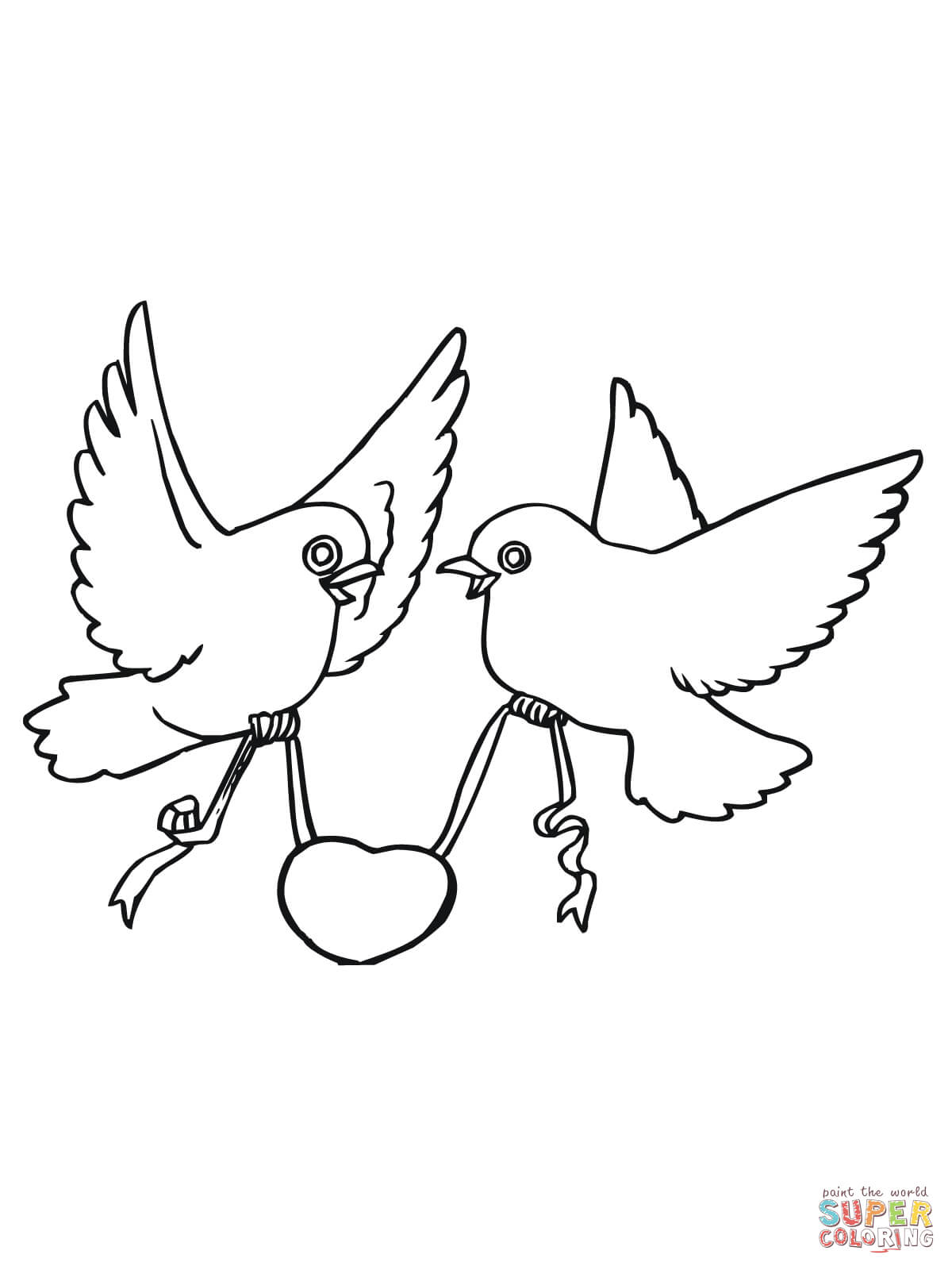 Love Birds With Hearts Coloring Page Free Printable Coloring Pages