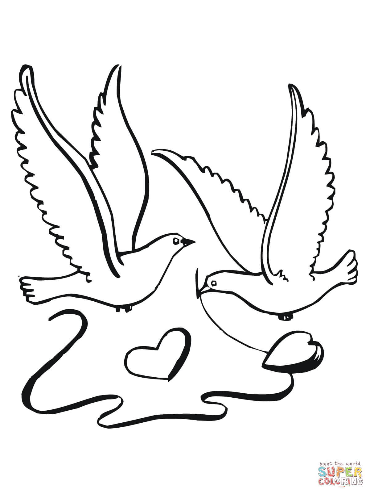 Lovebirds With Hearts Coloring Page