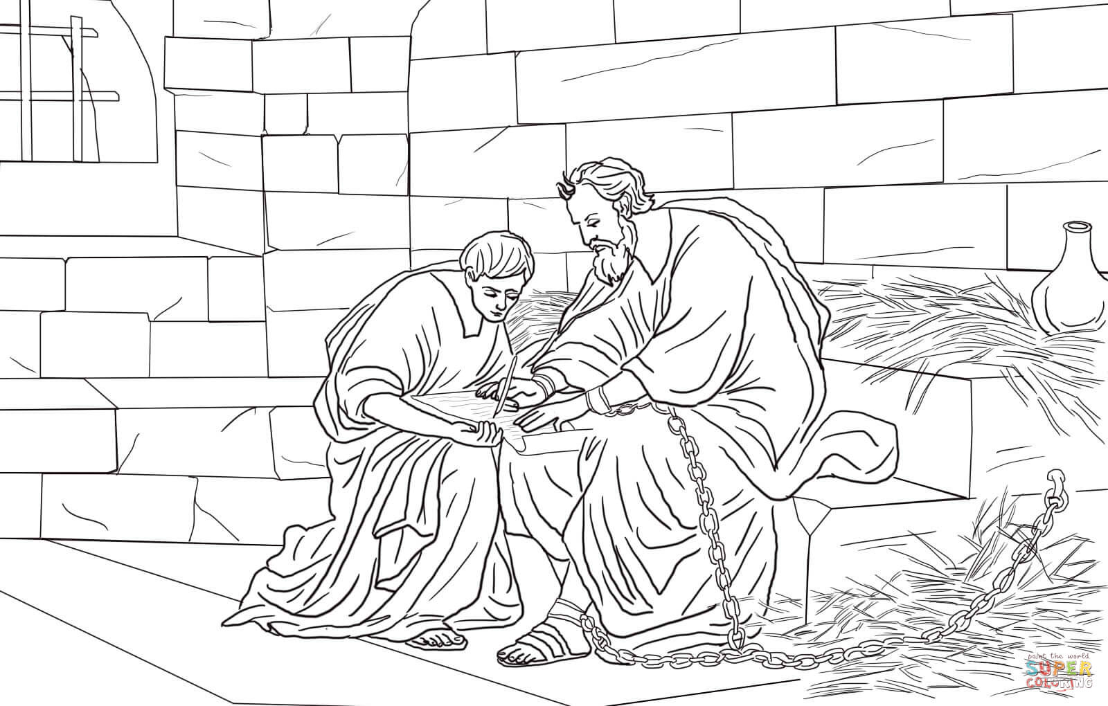 Paul and Timothy in Prison coloring page  Free Printable