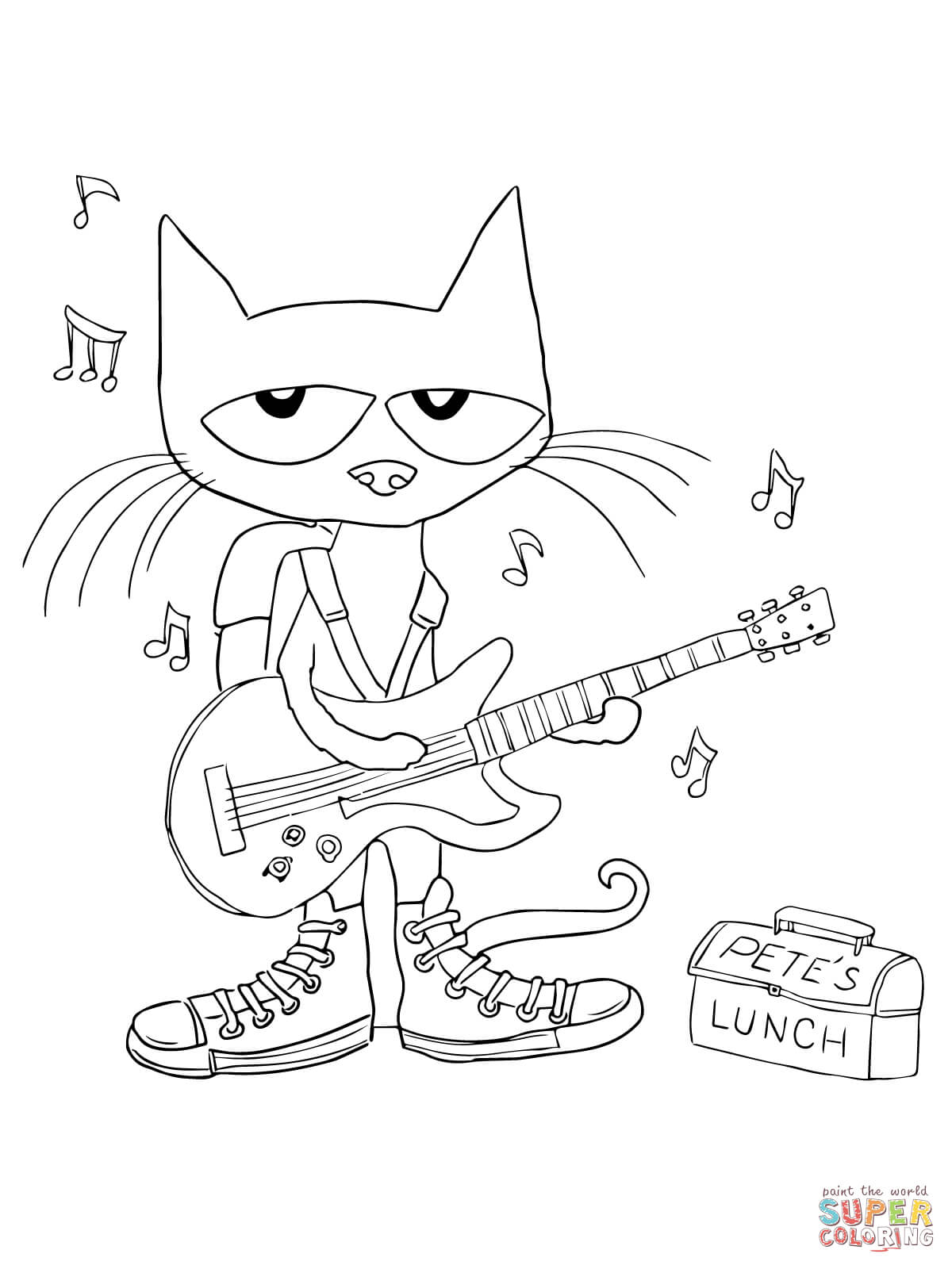 Pete The Cat Rocking In My School Shoes Coloring Page