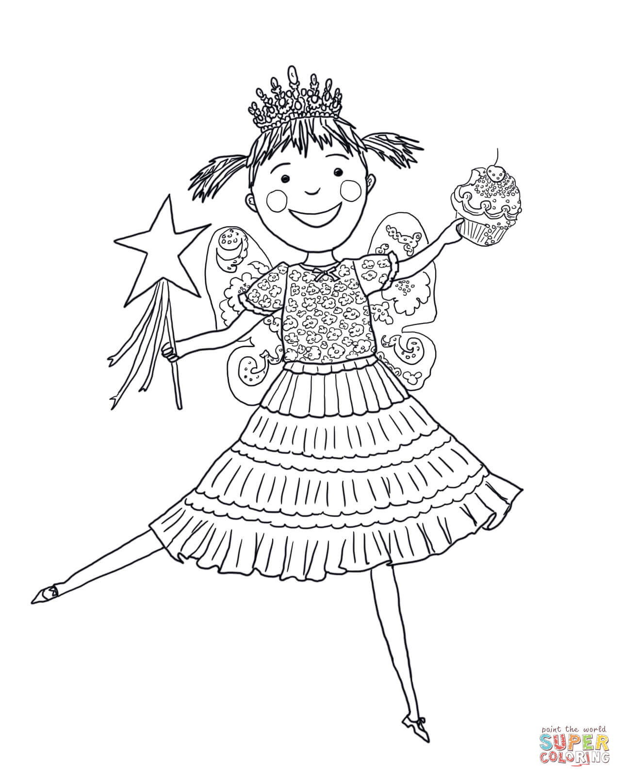 Pinkalicious With Pink Cupcakes Coloring Page
