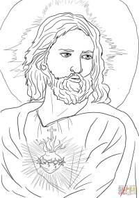 Disegno di Cuore Sacro di Ges da colorare