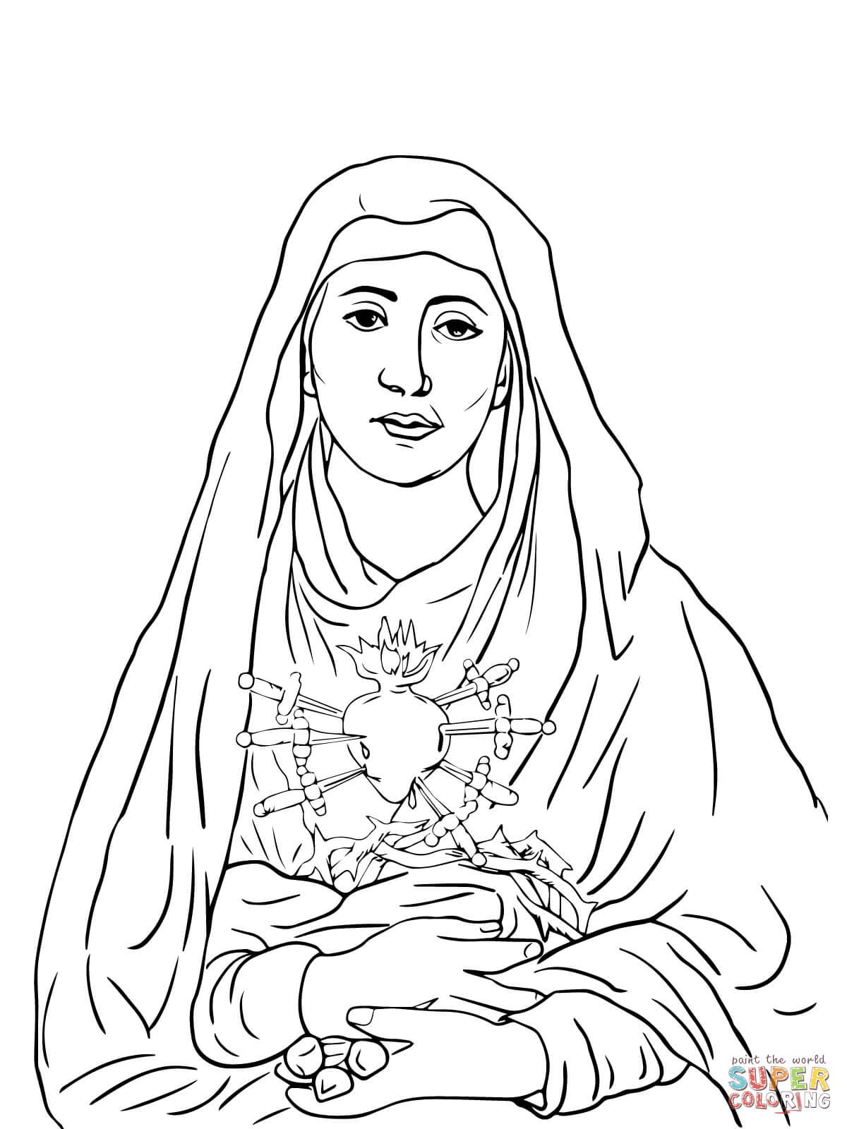 Dibujo de Los Siete Dolores de María para colorear