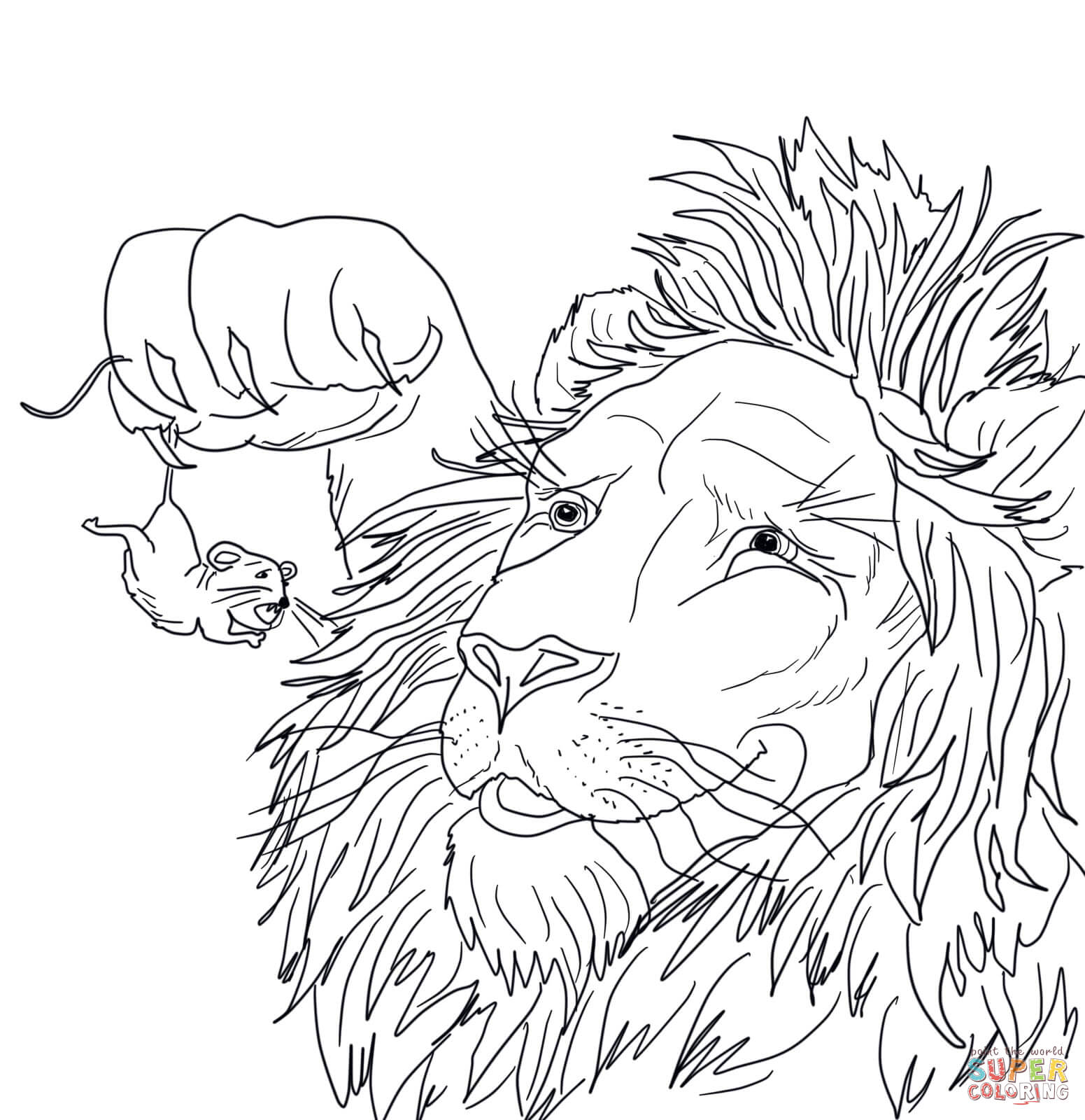 The Big Lion Caught A Tiny Mouse Coloring Page