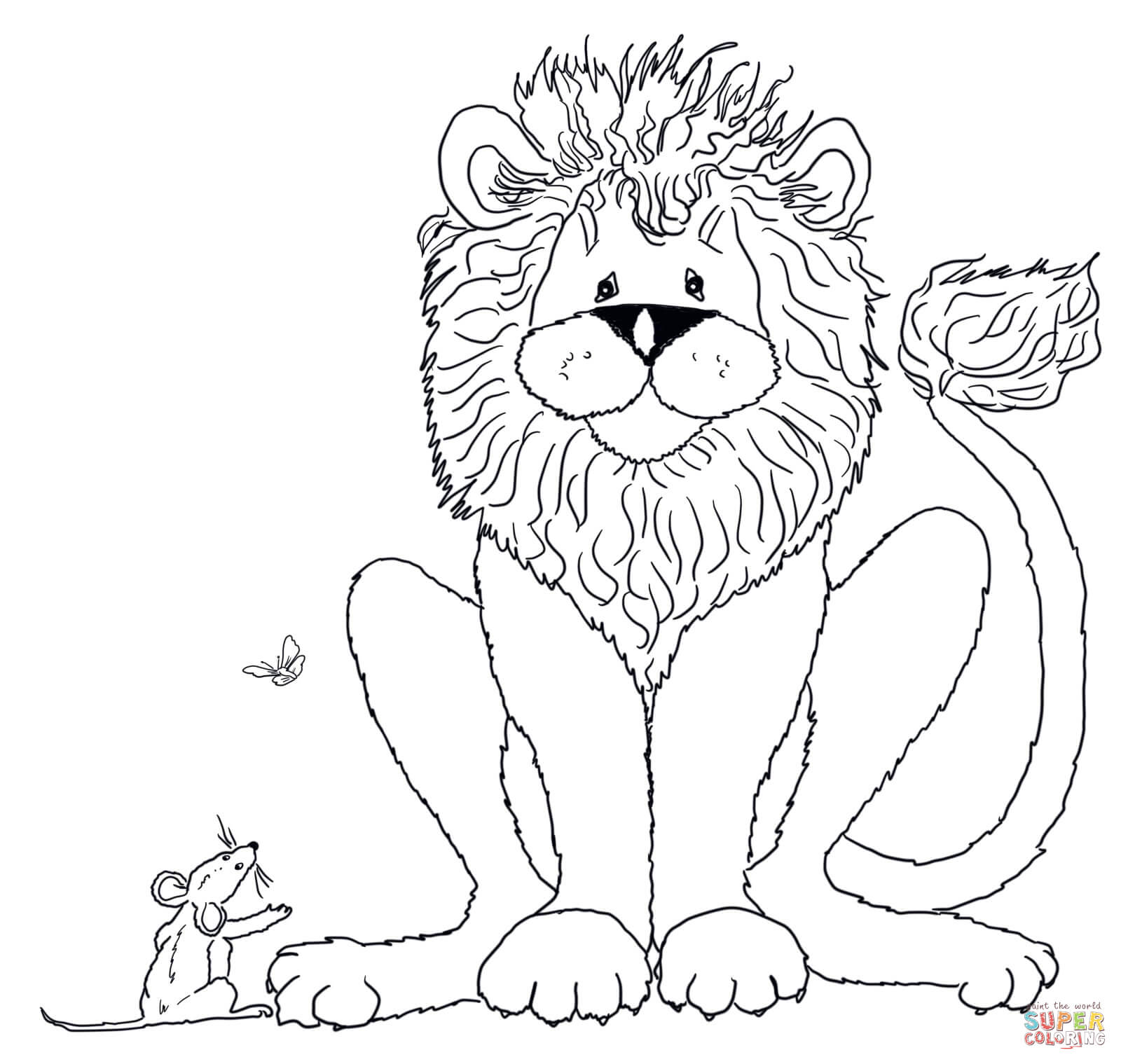 Lion And Mouse Coloring Coloring Pages