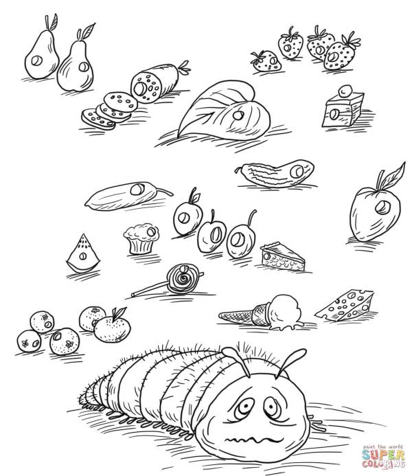 hungry caterpillar coloring pages # 23