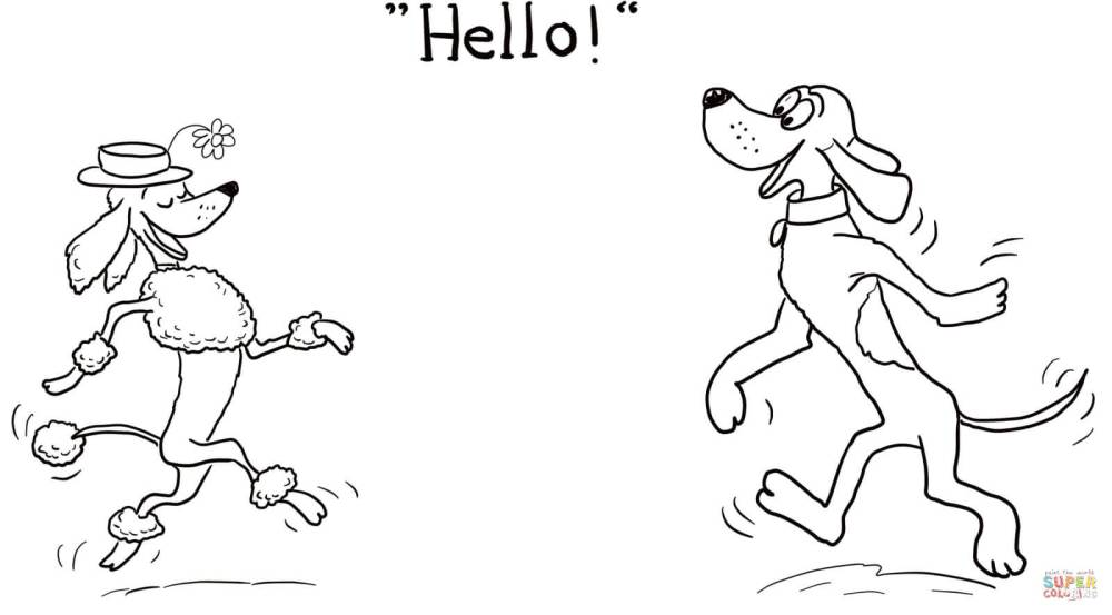medium resolution of click the dog says hello coloring pages