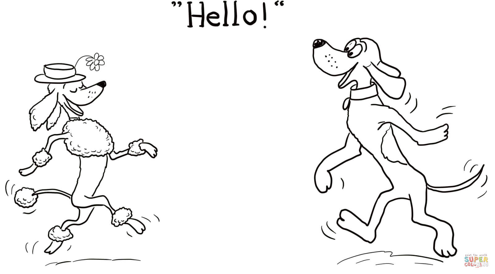 hight resolution of click the dog says hello coloring pages