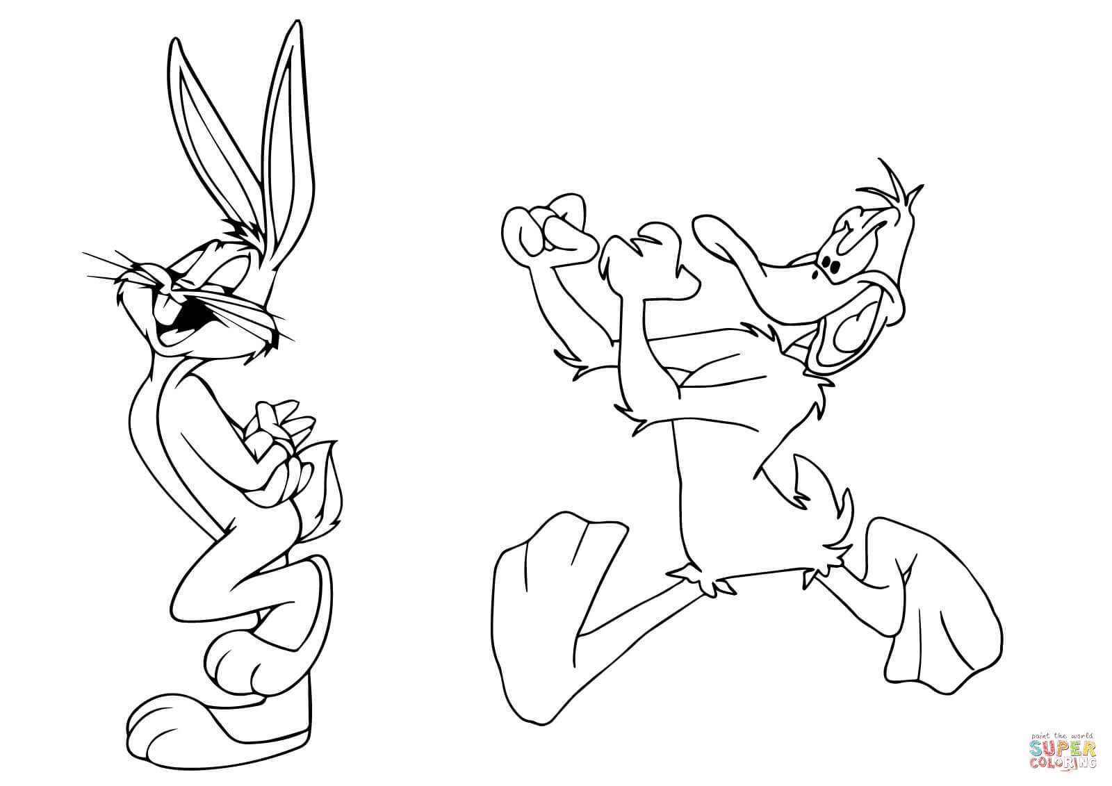 Daffy Duck Chasing Bugs Bunny Coloring Page