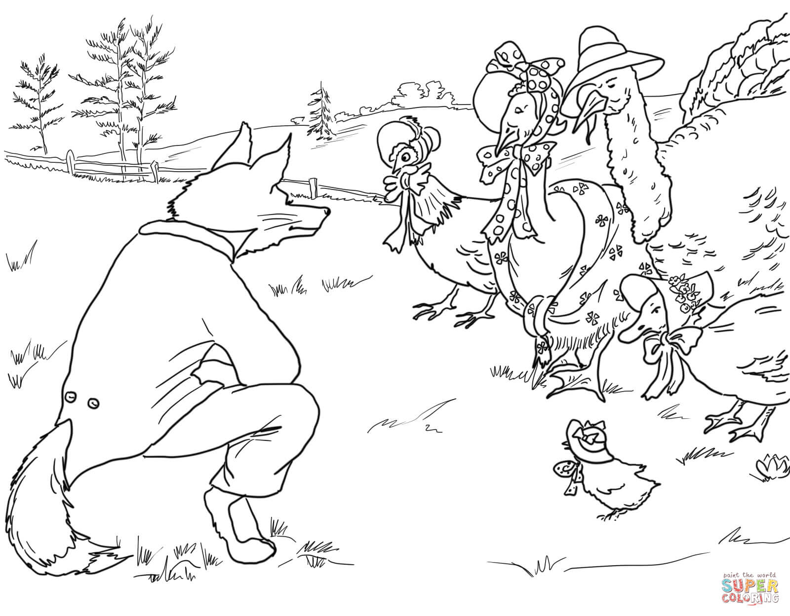 Fox Invites Birds To It S Lair Coloring Page