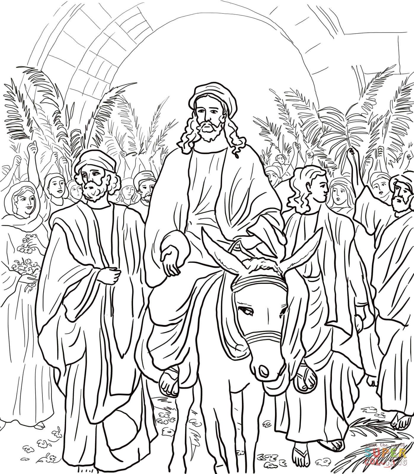 Dibujo de Entrada de Jesús a Jerusalem para colorear