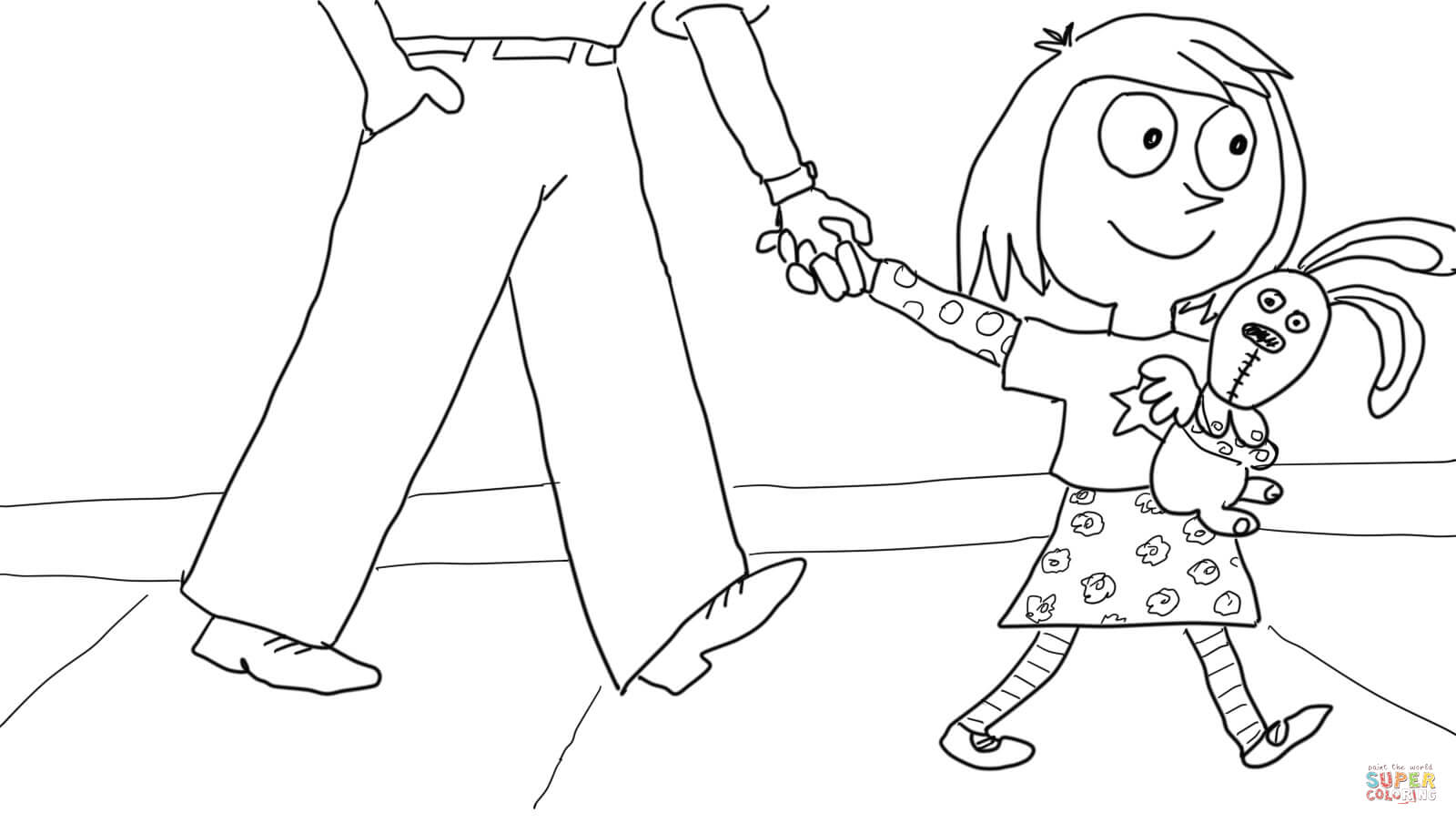 Knuffle Bunny Too Coloring Page