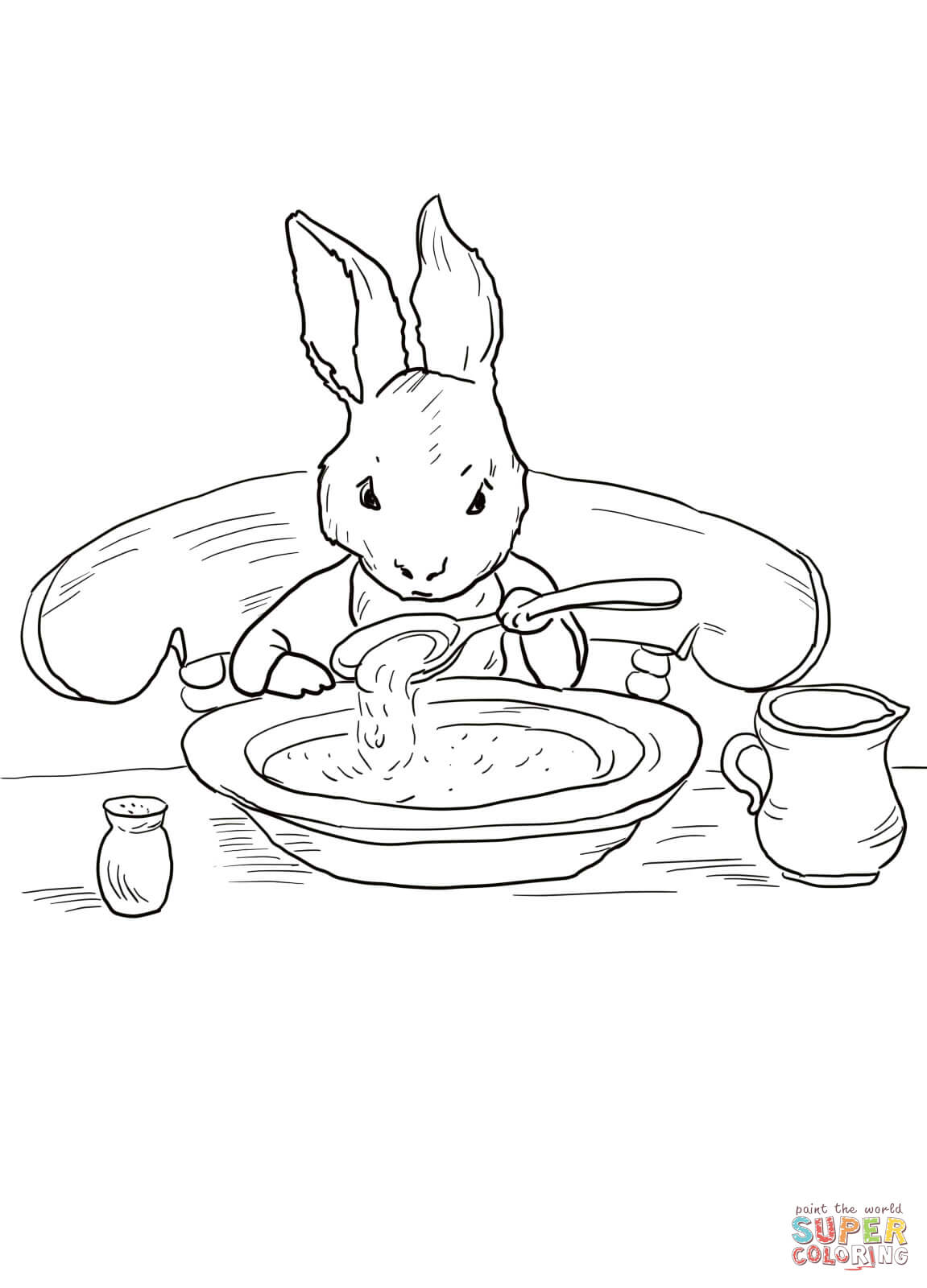 Peter Rabbit At Home Coloring Page