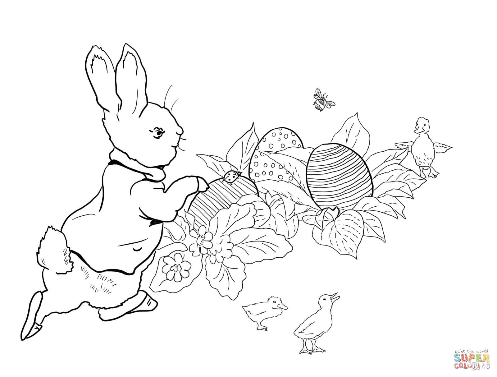 Peter Rabbit Easter Egg Hunt Coloring Page