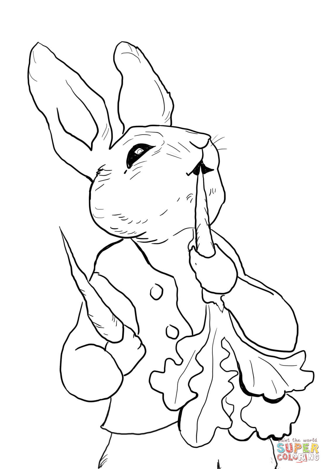 Peter Rabbit Eating Radishes Coloring Page