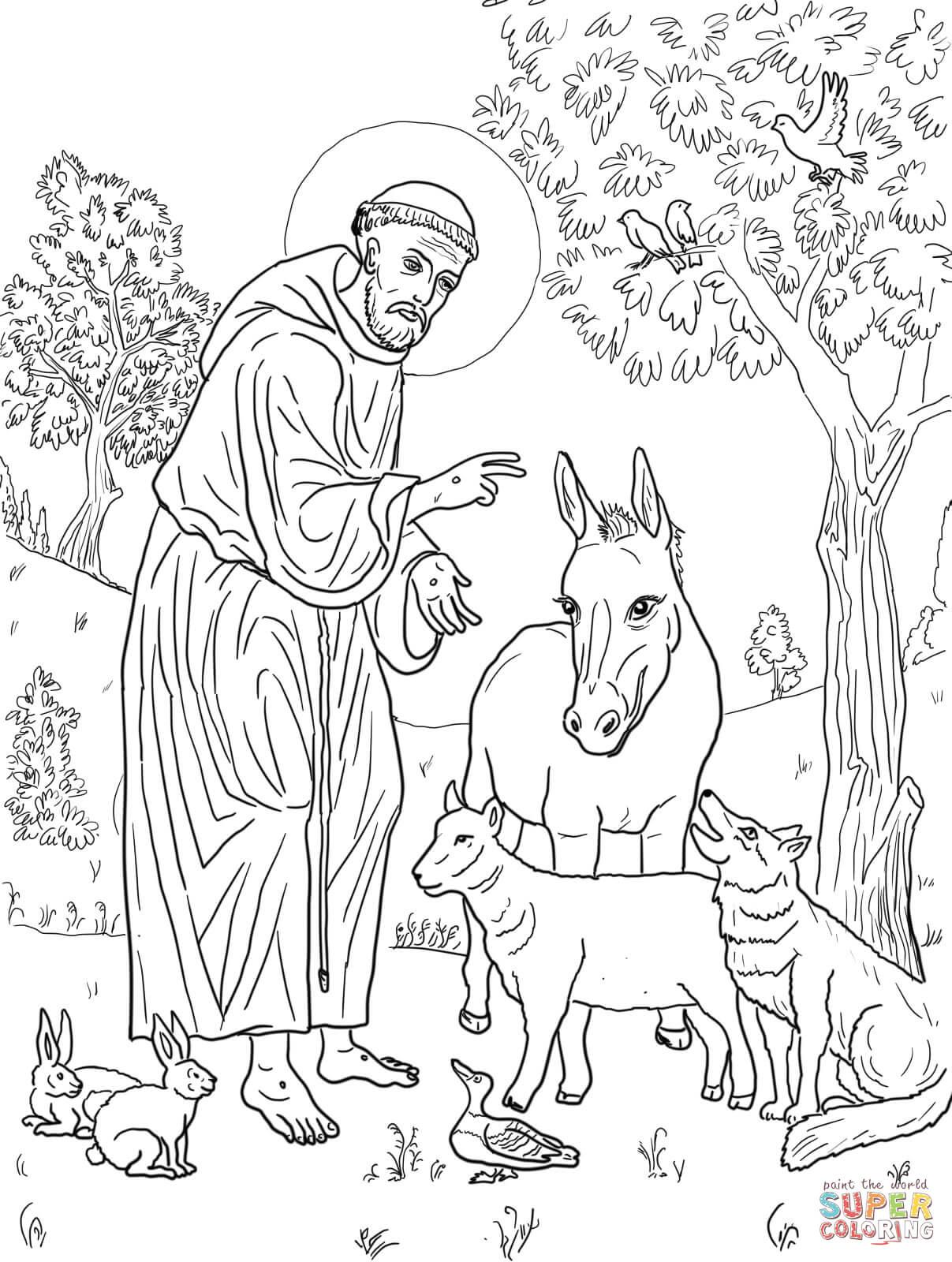 Dibujo de San Francisco de Asís con Animales para colorear