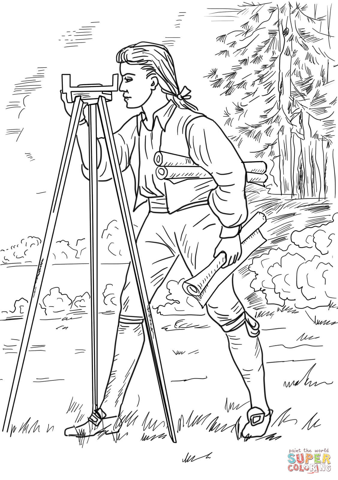Young George Washington Surveyor And Mapmaker Coloring