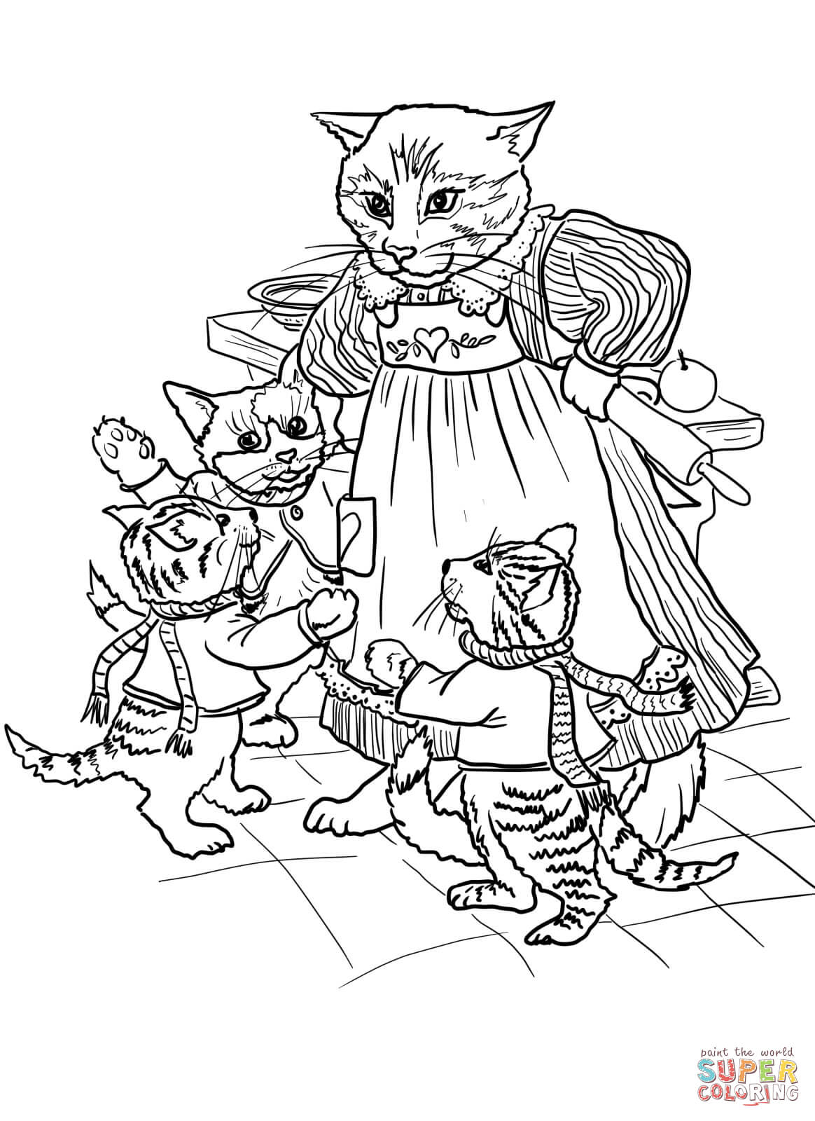 3 Little Kittens Have Lost Their Mittens coloring page