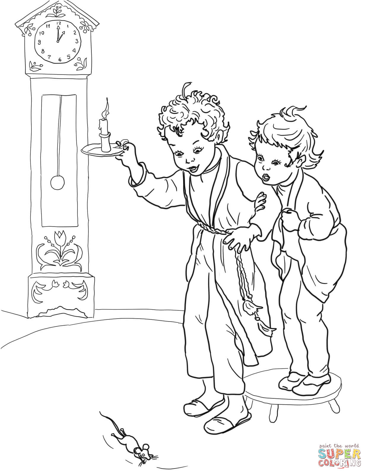 Hickory Dickory Dock Coloring Page