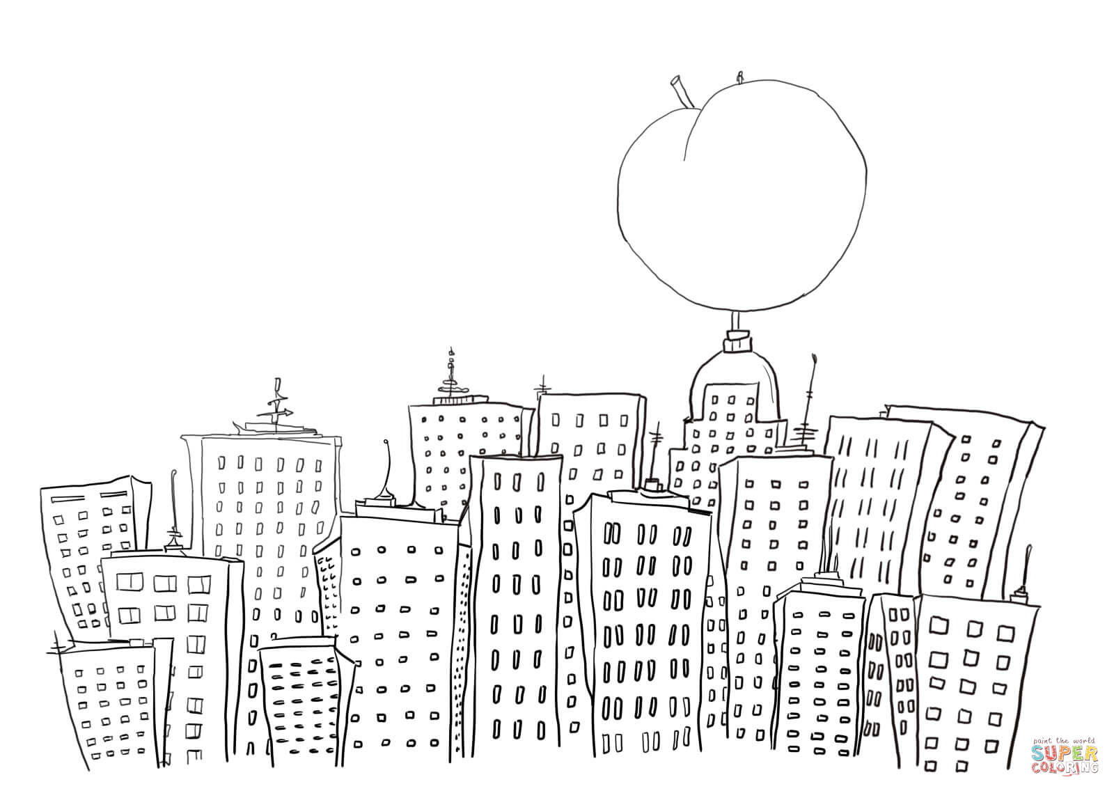 James And The Giant Peach In New York Coloring Page