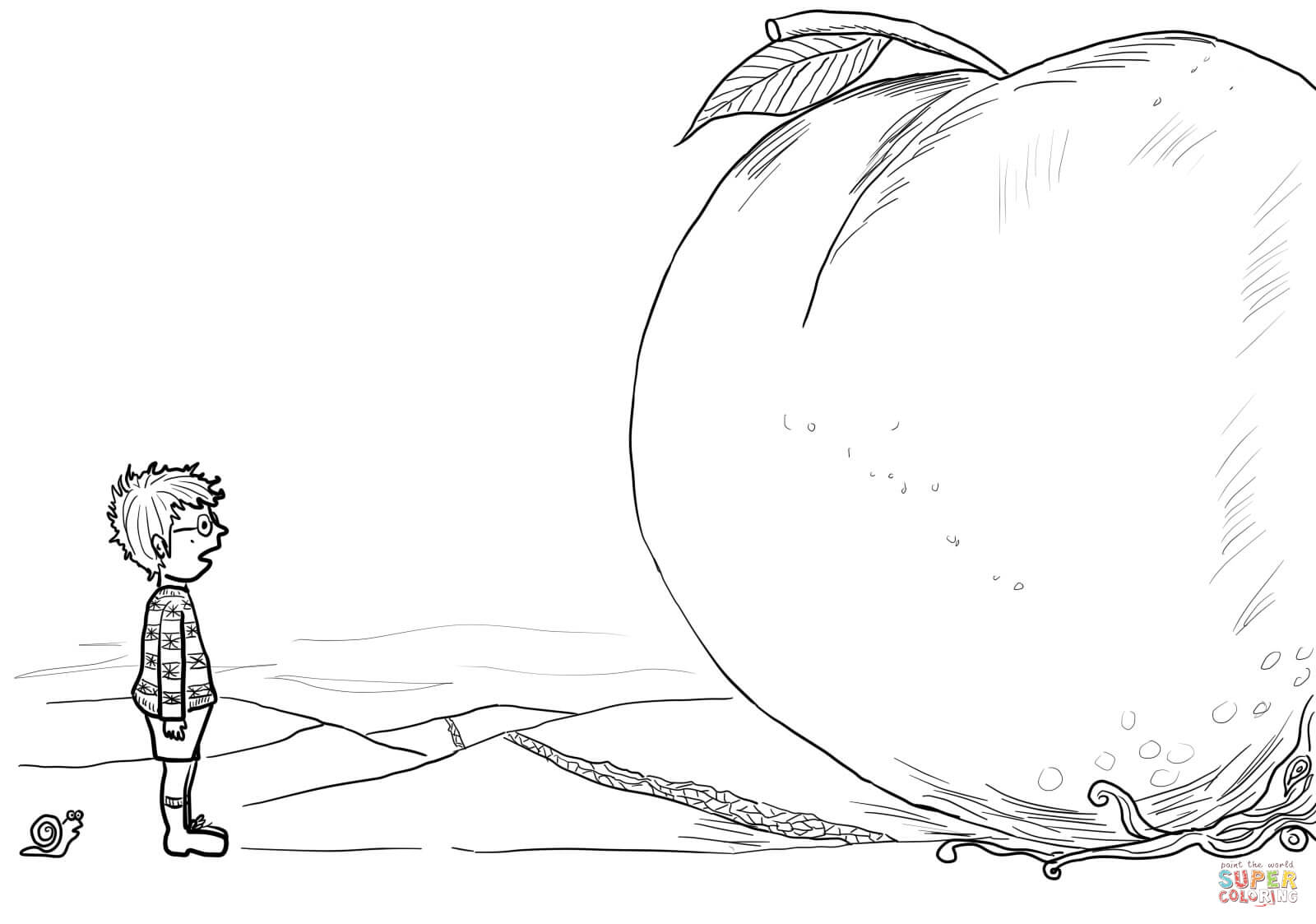 James Snail And Giant Peach Coloring Page