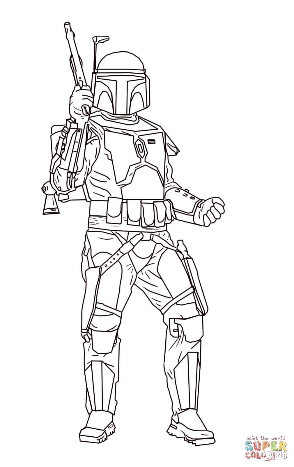 Dibujo de Jango Fett de Star Wars: El Ataque de los Clones