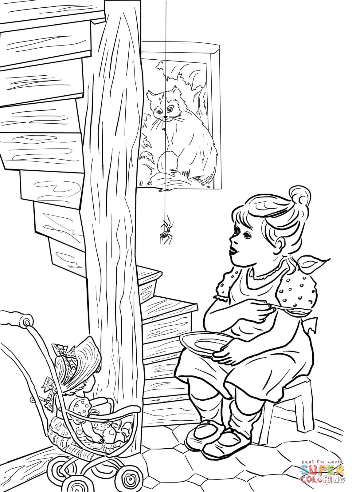 Little Miss Muffet Nursery Rhyme Coloring Page